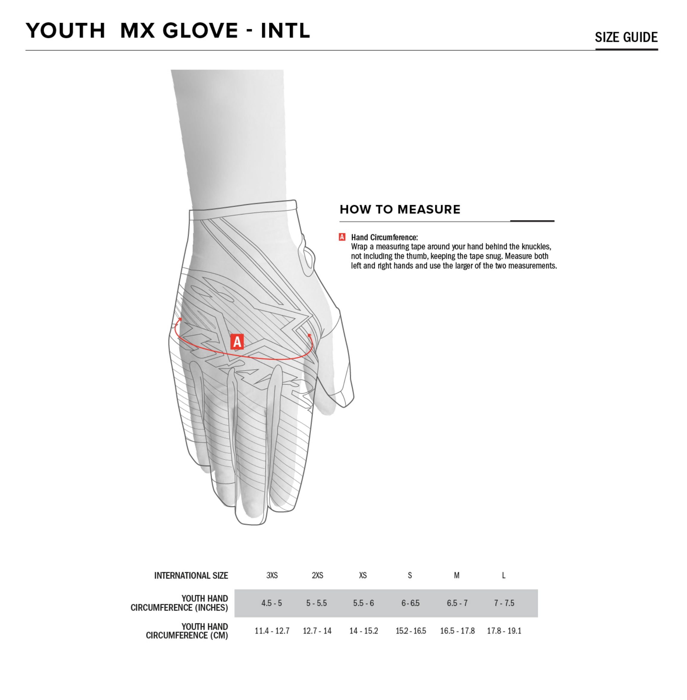 Alpinestars - 2020 Youth Radar Gloves Size Guide