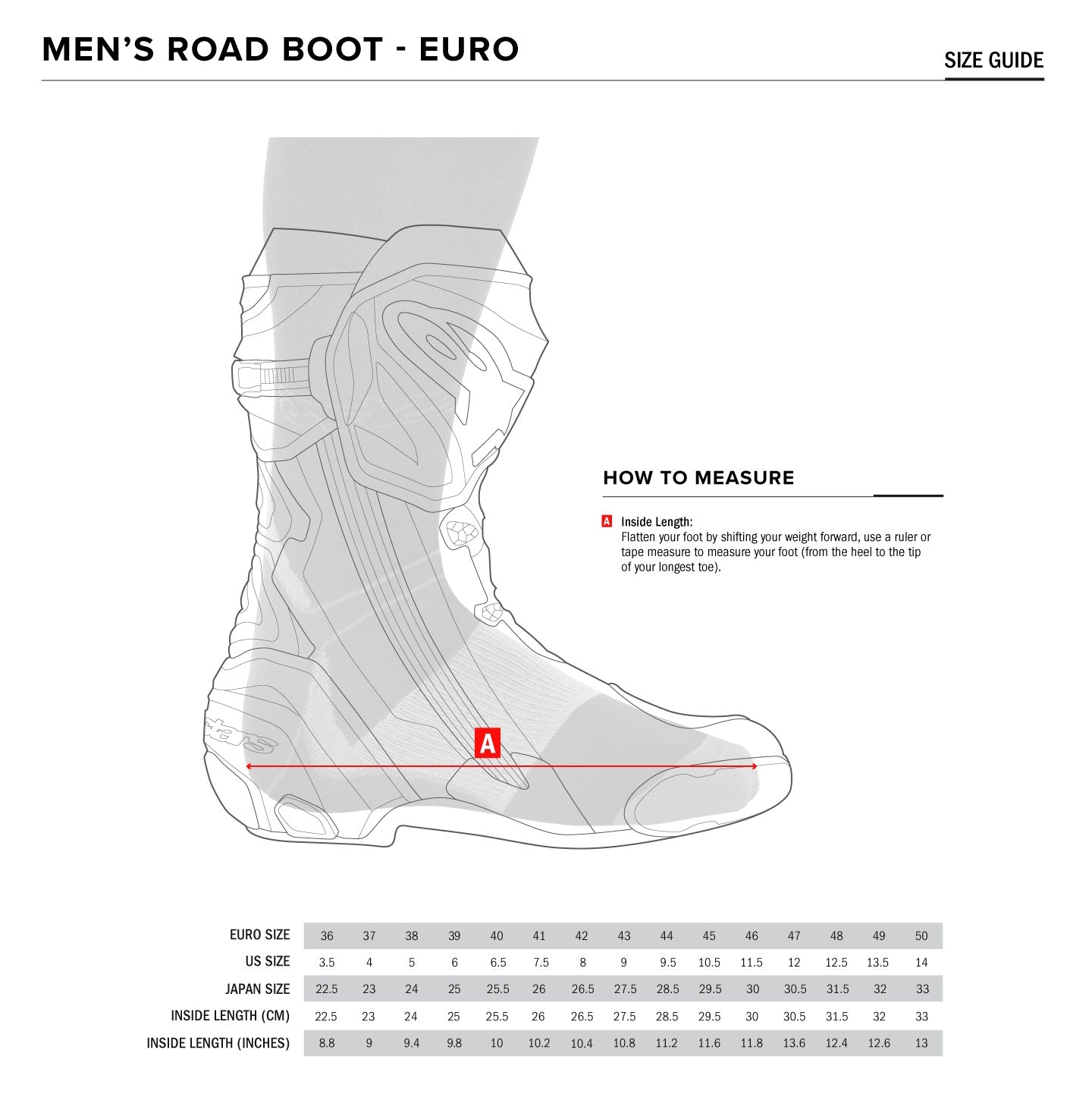 Alpinestars - SMX Plus V2 Road Boots Size Guide