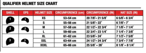 Bell - Qualifier DLX Solid Helmet Size Guide