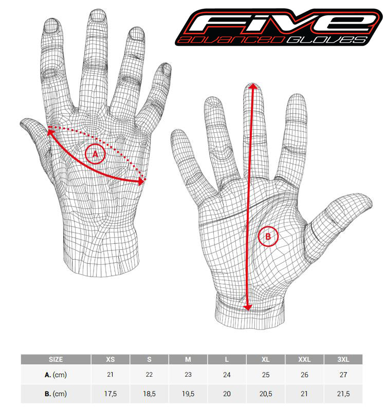Five - SF3 Leather Gloves Size Guide