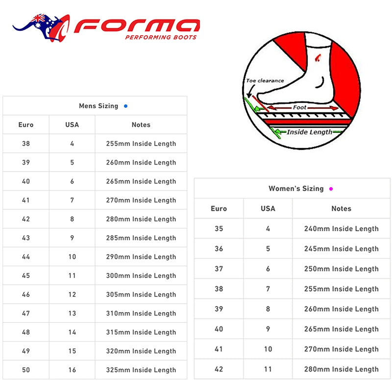 Forma - Ladies Ruby Boots Size Guide