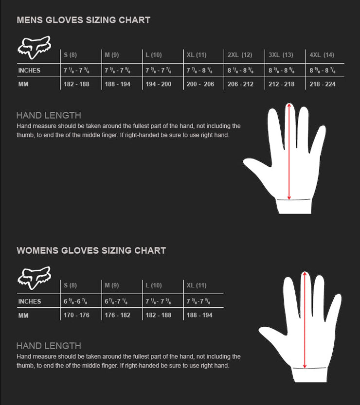 Fox - 2016 Pawtector Gloves Size Guide