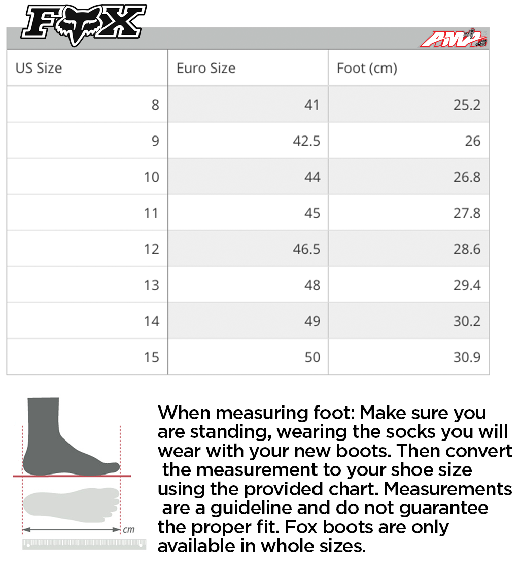 Fox - 2020 Instinct MX Boot Size Guide