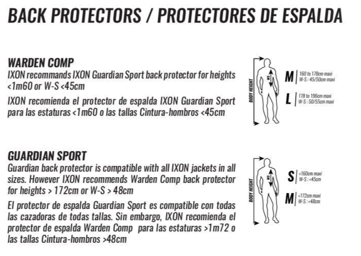 Ixon - Warden Comp Back Protector Size Guide