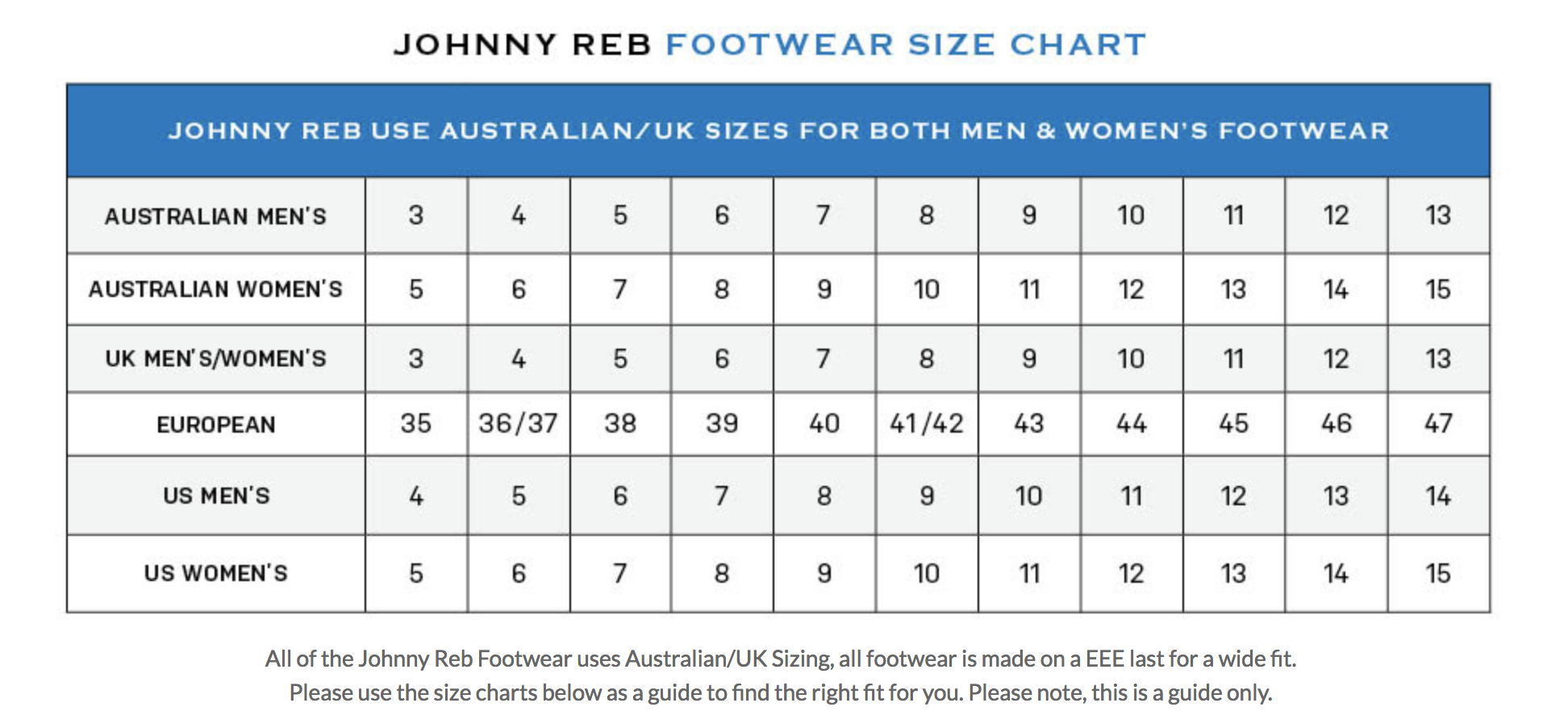 Johnny Reb - Rogue Boots Size Guide