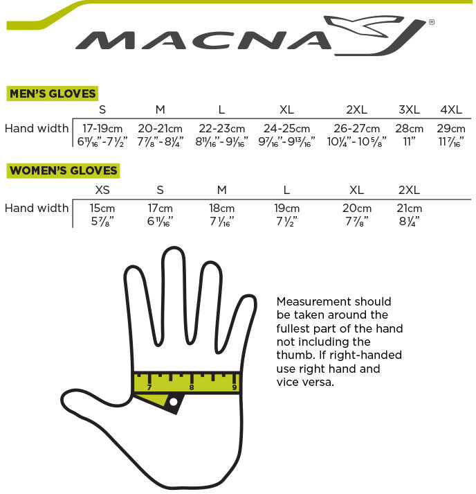 Macna - Intro 2 Winter Gloves Size Guide