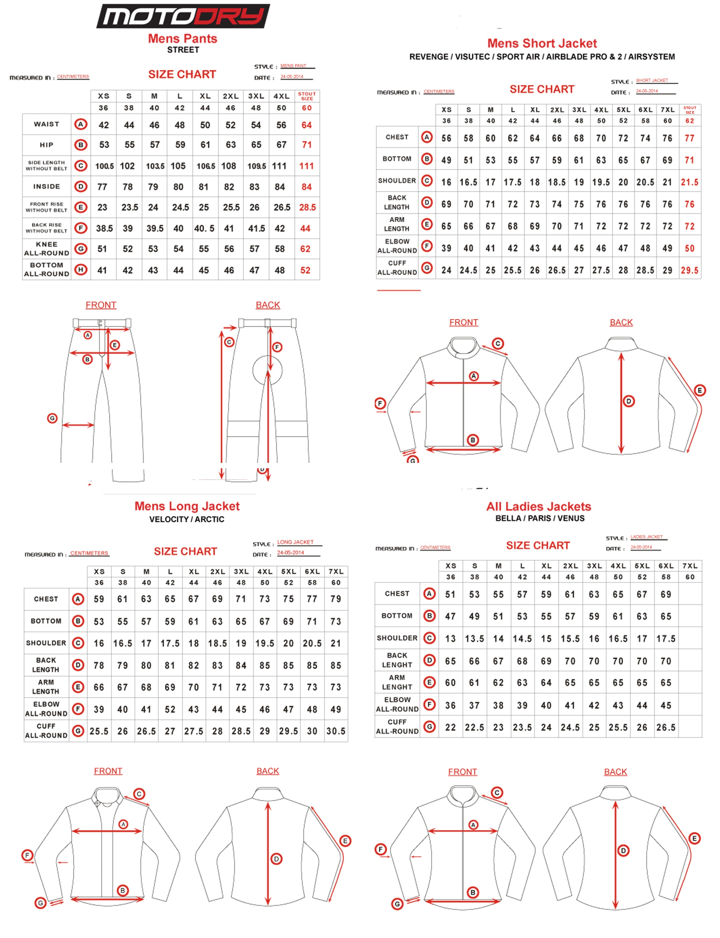 Moto Dry - Rapid Summer Jacket Size Guide