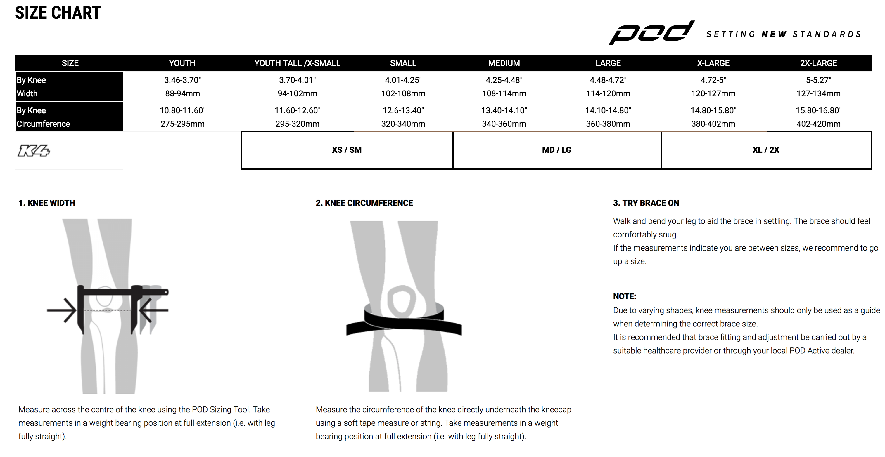 Podmx - K4 2.0 Knee Brace - RIGHT Size Guide