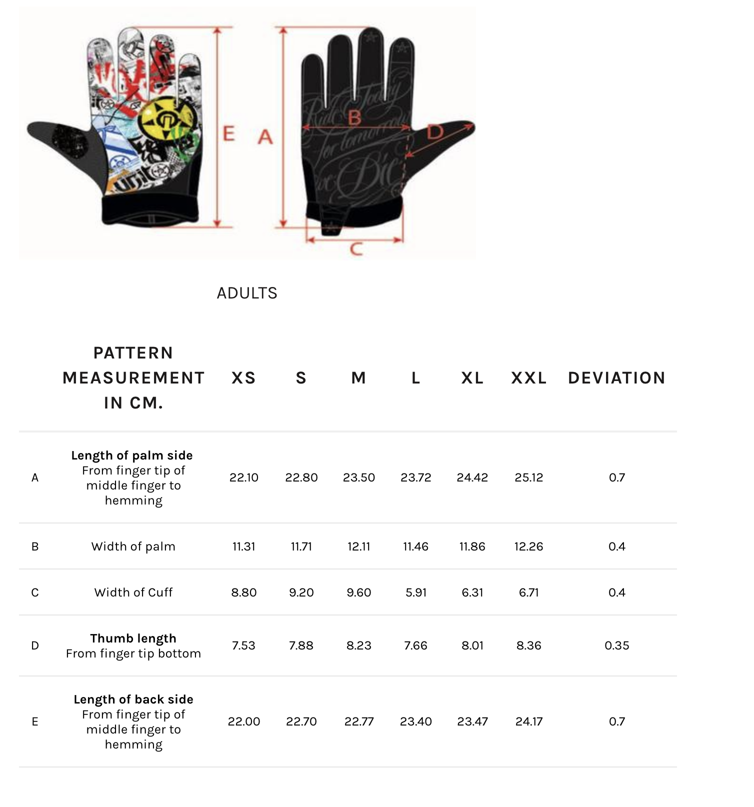 Unit - Spark MX Gloves Size Guide