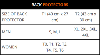 Segura - Small-Large Insert Back Protector Size Guide