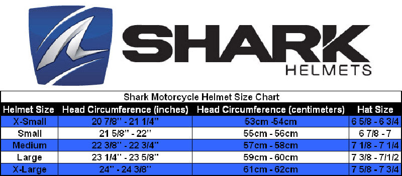 Shark - RAW Trinity Helmet Size Guide