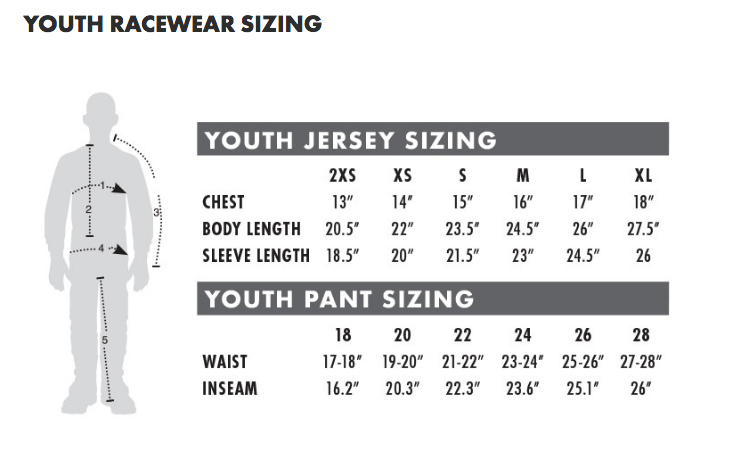 Thor - 2018 Youth Pulse Geotec Jersey Size Guide