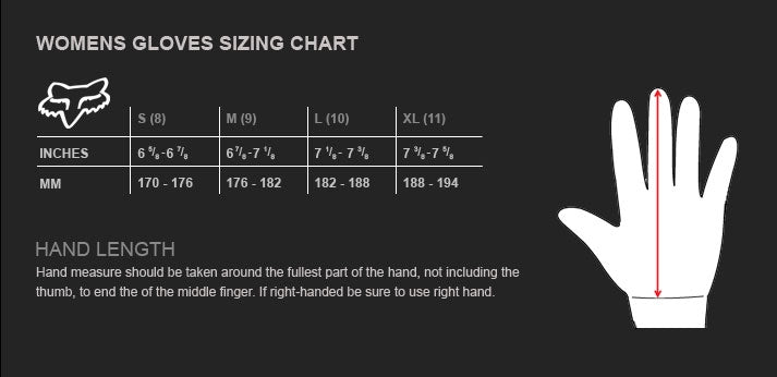 Fox - 2020 Womens Dirtpaw Prix Gloves Size Guide