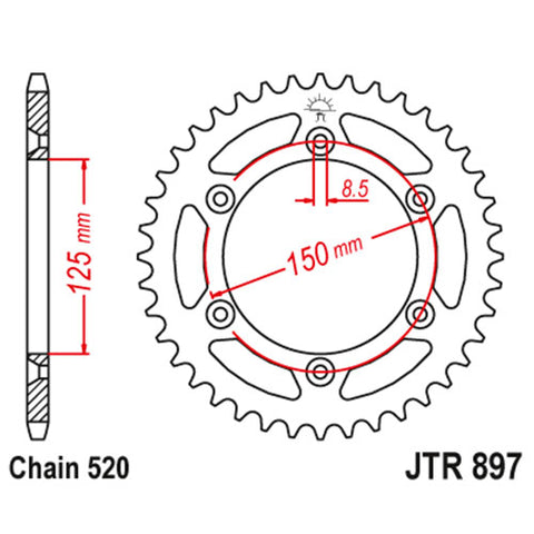 JT - KTM Steel Rear Sprocket