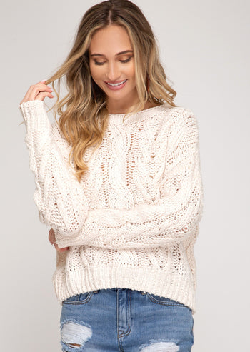 Natural Cable Knit Pullover