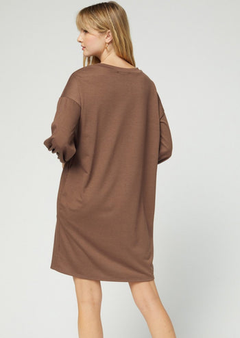Brown Pocket Dress