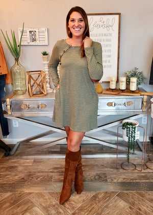 Striped Elbow Patch Dress - Olive