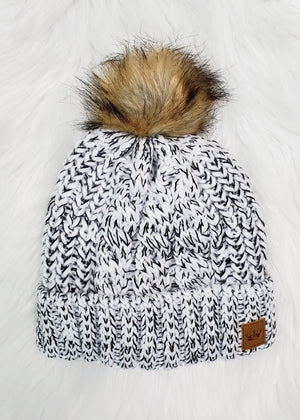Black and White Pom Hat