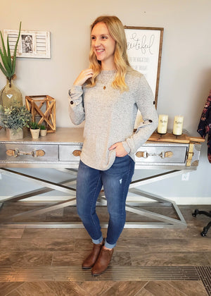 Button Sleeve Top - Gray