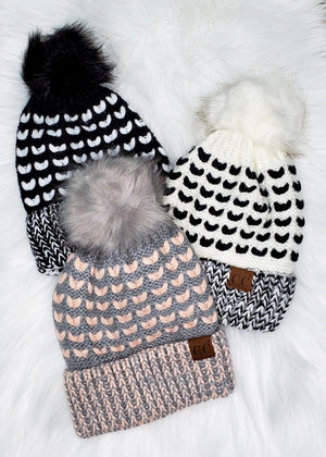 C.C Stitch Knit Pom Hats