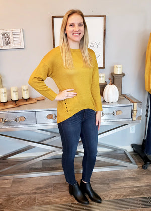 Mustard Lace Up Side Detail Sweater