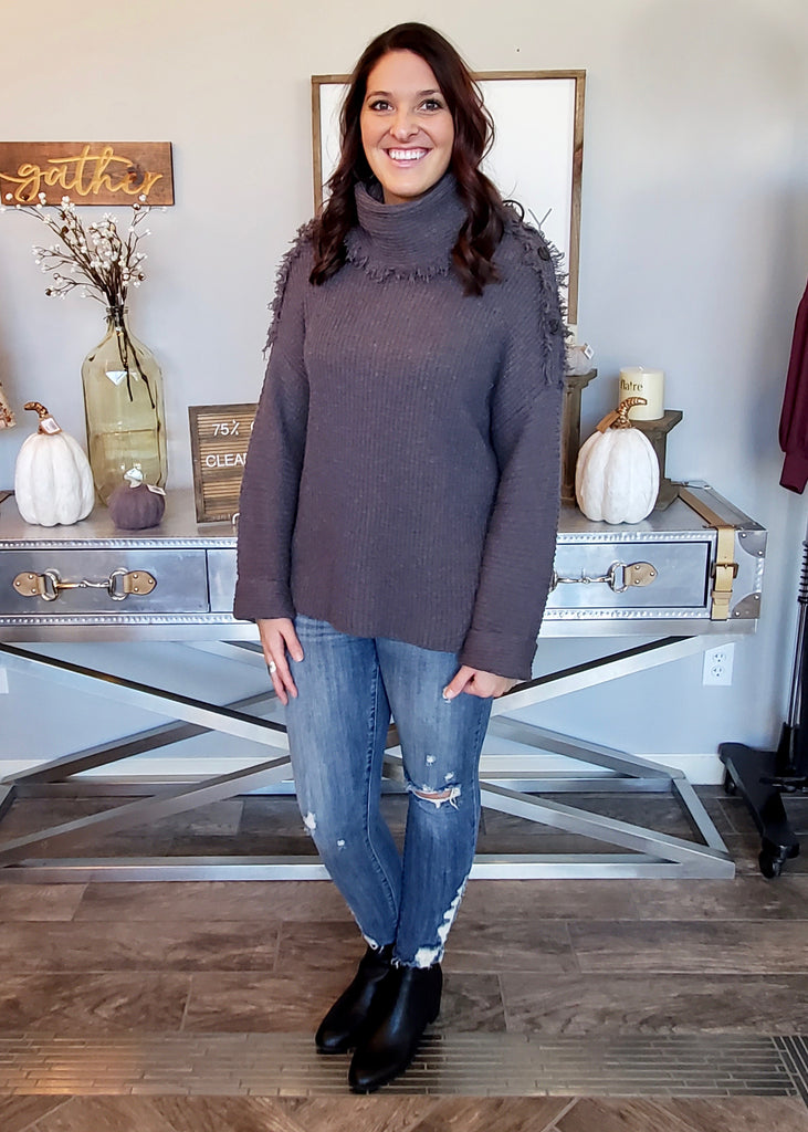 Dark Gray Distressed Convertible Sweater