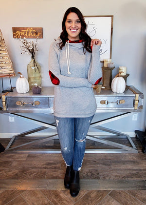 Gray Thumbhole Hoodie with Buffalo Plaid