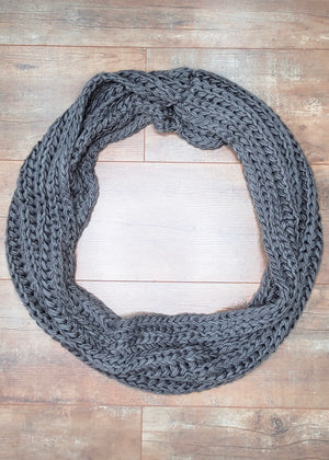 Knit Infinity Scarf - Steel Gray