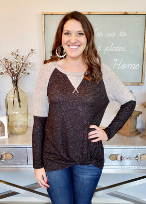 Charcoal Heather Twist Top