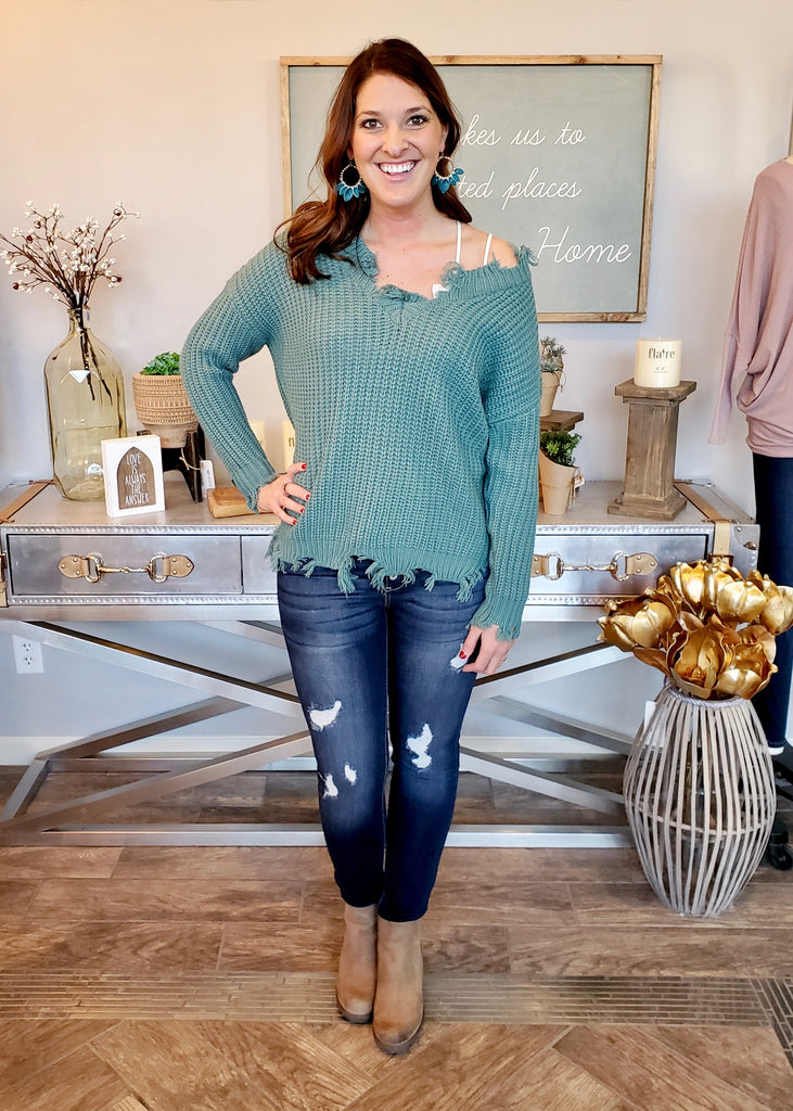 Destructed Sweater - Teal