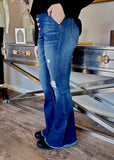 Kan Can High Rise Destructed Flare Jeans