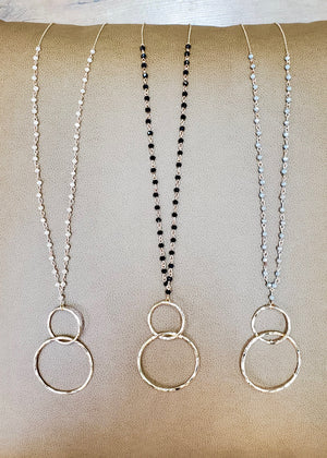 Long Double Hoop Beaded Necklaces