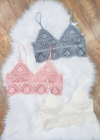 Crochet Lace Bralettes - Light Gray, Rose, Off White
