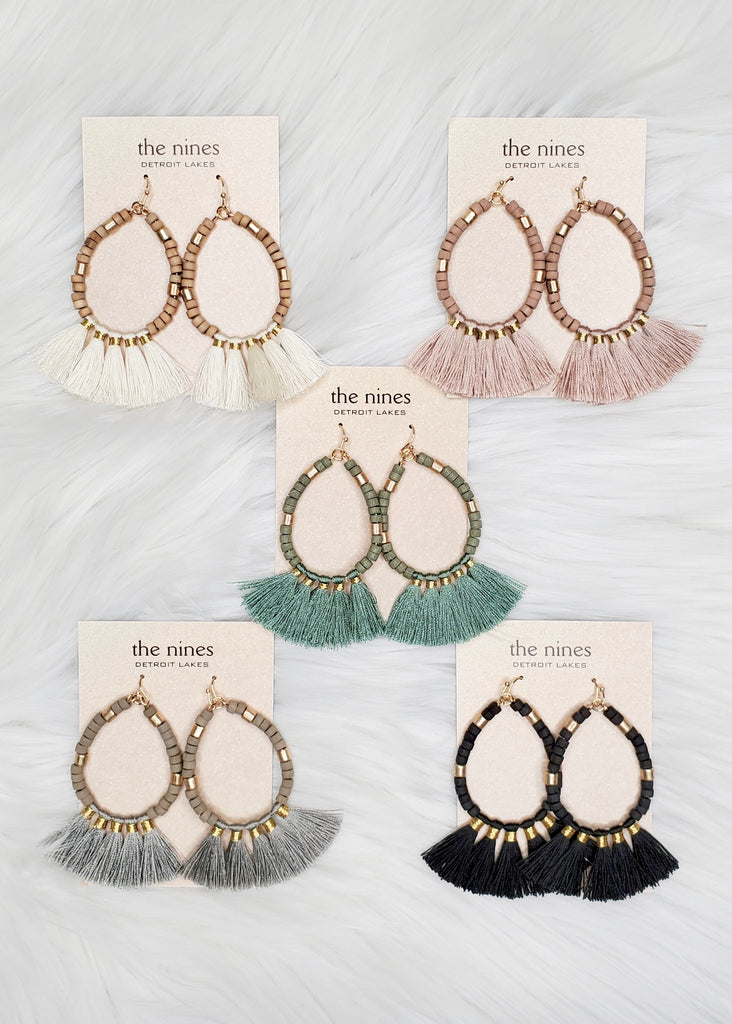 Teardrop Beaded Fringe Earrings