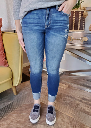 Kan Can High Rise Cuffed Destructed Pocket Jean