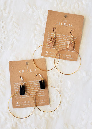 Gold Hoop Leather Earrings