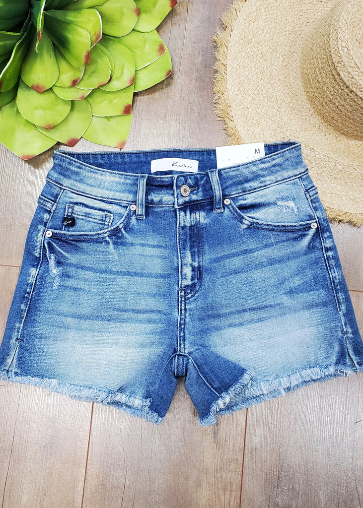 Kan Can Medium Wash Side Slit Shorts