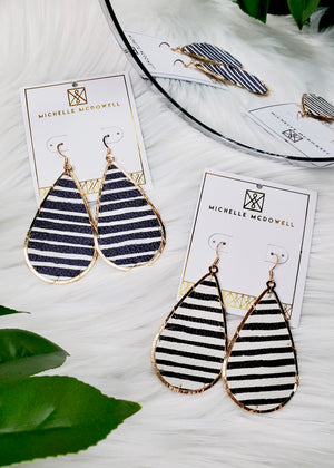 Teardrop Striped Leather Earrings