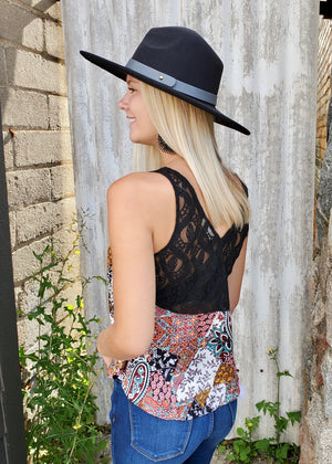 Lace Back Printed Tank
