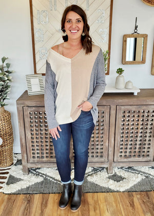 Mixed Neutrals Oversized Pullover