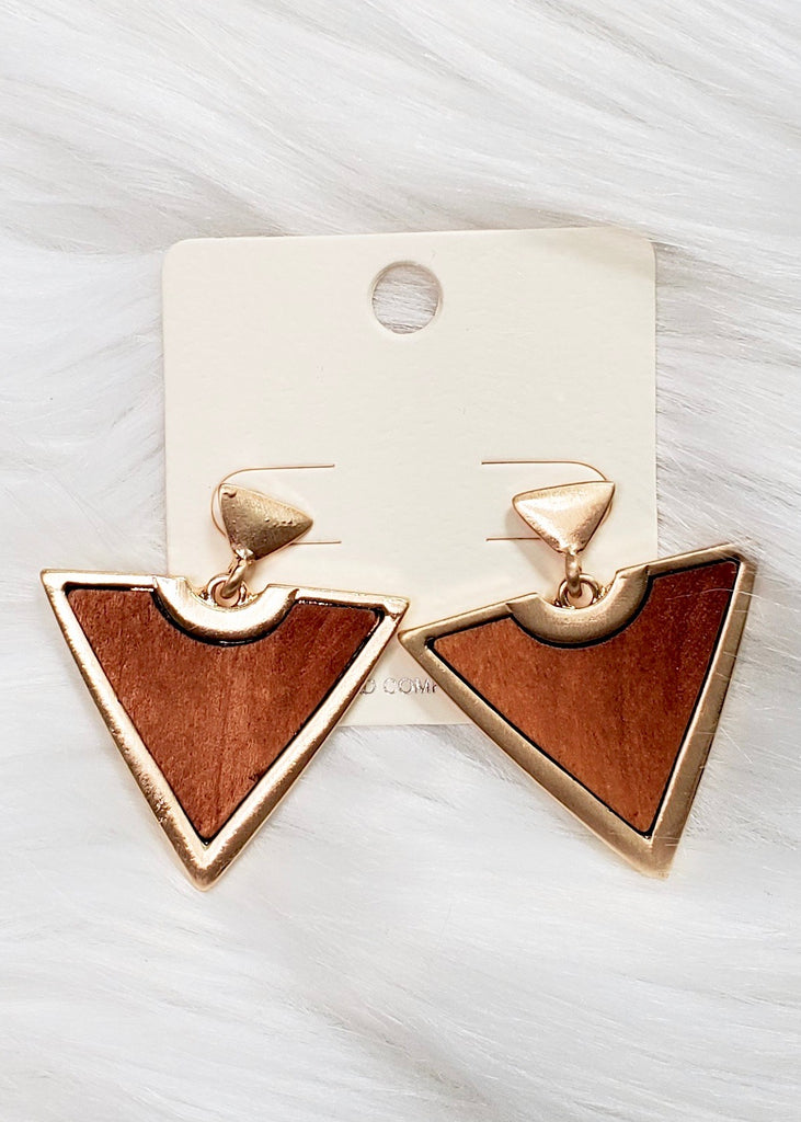 Triangle Wood & Gold Earrings