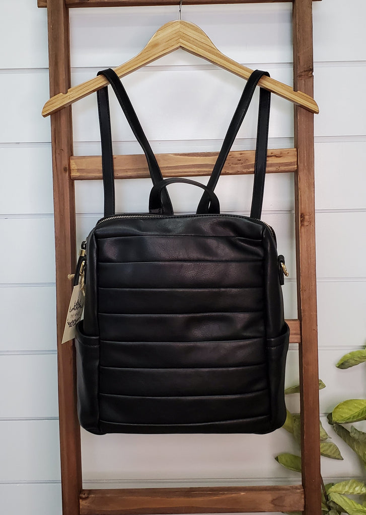 Vegan Leather Pleated Convertible Backpack Purses