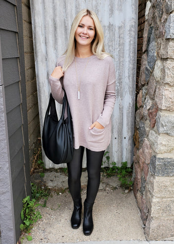 Almond Mocha Pocket Sweater