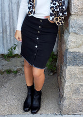 Black Button Denim Skirt