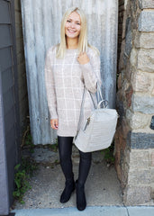 Multi-Tone Beige Plaid Sweater Tunic