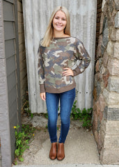 Brushed Camo Button Sleeve Tops