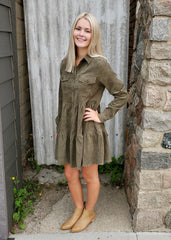 Olive Corduroy Tiered Button Dress