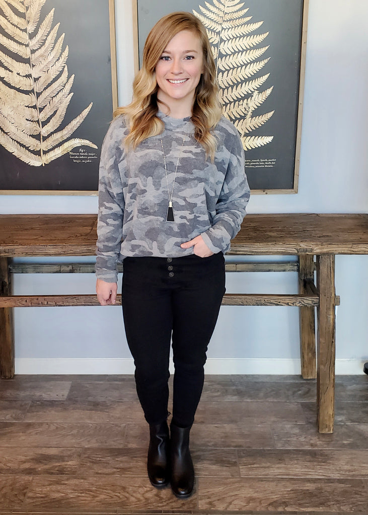 Cozy Camo Brushed Tunic Top