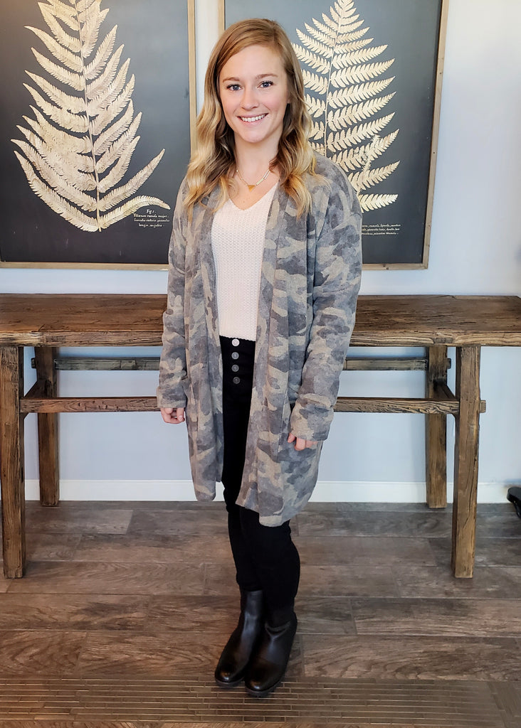 Cozy Camo Brushed Cardigan