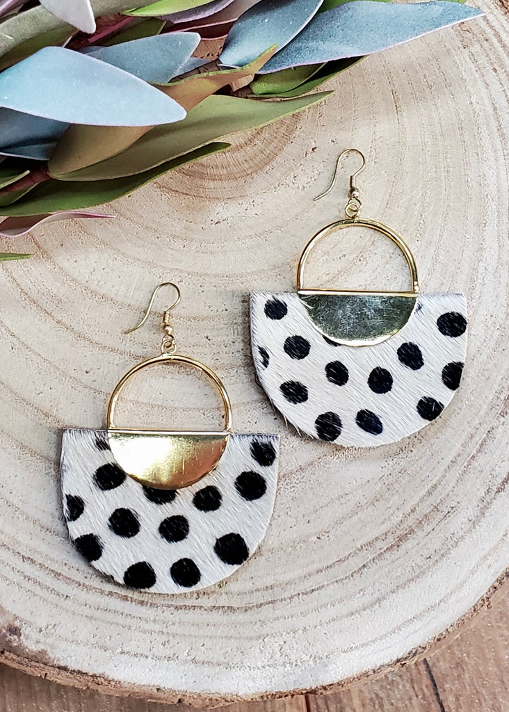 White Dotted Animal Earrings